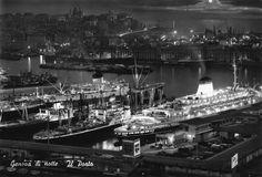 Genova di notte - Il Porto (cartolina ed. Bromofoto Milano) anni '60