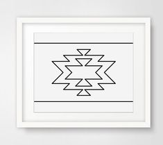 PRINTABLE INSTANT DOWNLOAD: Navajo Motive, Black and White Art Print, Geometric Prints === DIGITAL FILE ONLY Print out this modern wall artwork