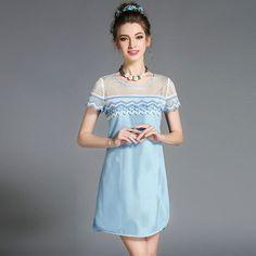 Women's Plus Size Lace Trim Mesh Summer Party Dress l-5xl