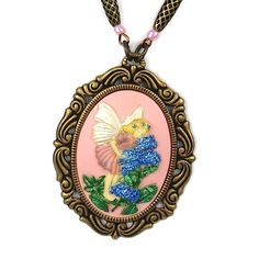 Pink Woodland Fairy Cameo Pendant Necklace