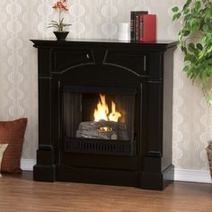 captivating southern enterprises heritage black gel fuel fireplace fa9274g black - Gel Fuel Fireplace
