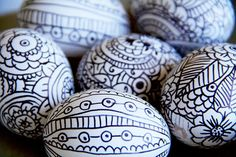 doodle easter eggs - blow out the eggs & use black sharpie to doodle away!  IMG_9094 by mealisab, via Flickr