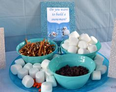 Frozen Birthday Theme Food Snowman - several cute food ideas here - including Olaf noses, Sven antlers, etc.