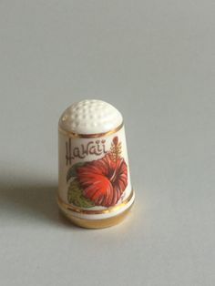 HAWAII THIMBLE,Red Hibiscus thimble,red flower thimble,vintage gold rimmed thimble,Belmar Edition Limited issue thimble,State Flower thimble