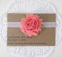 Baby bow headband- coral chiffon flower on chevron elastic. $7.00, via Etsy.