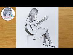 Cool Pencil Drawings, Girl Drawing Sketches, Girly Drawings, Art Drawings Sketches Simple, Disney Drawings, Guitar Sketch, Guitar Drawing, Guitar Art, Pencil Sketch Tutorial