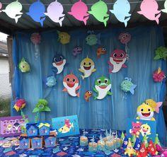Shark Birthday Cakes, 1st Birthday Themes, Second Birthday Ideas, Baby Boy 1st Birthday, 3rd Birthday Parties, Baby Shark, Baby Party, First Birthdays, Shark Party