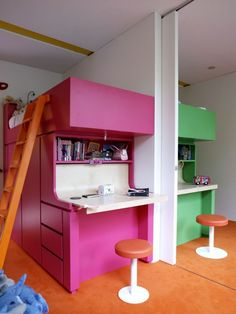 Loft beds with moving divider wall