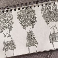 Little spiral obsession... 3 girls at the hairdresser *** Petite obsession spirale... 3 filles chez le coiffeur.  Illustration www.francemars.com