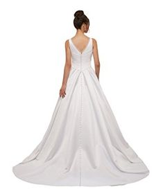 Amazon.com: Ruolai V Neck Wedding Dress Simple A Line Ruched Satin Wedding Gown White 10: Clothing