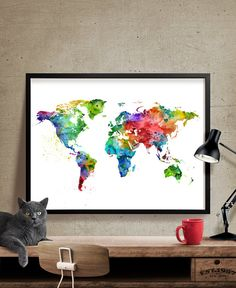 World Map Print Map Watercolor Art Large Map by FineArtCenter