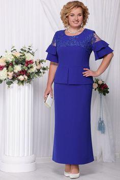 """Ninele dress, cornflower blue (model 2100) - Belarusian knitwear in the online store """"Sewing Tradition"""""""