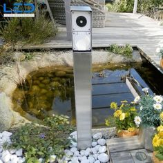 Steckdosensäule, Gartensteckdose, Steckdosensockel für Ihren Garten, Aussensteckdose aus Edelstahl