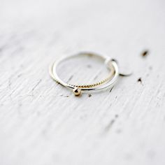 Gold bead silver ring