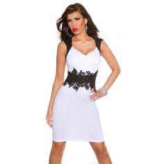 b70165f76dfa 22358-IN Φόρεμα Μίντι με δαντέλα Άσπρο. Moda Marconi · Εντυπωσιακά γυναικεία  ρούχα ...