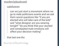 If it sounds strange to ask a male politician what designer he's wearing, then to discuss it in the news, stop and ask yourself why women politicians are being asked ridiculous questions.  We didn't even do that in 1984.