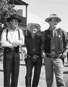 """WIDE, WIDE WORLD (NBC-TV) - """"THE WESTERN"""" - Host:  Dave Garroway of NBC-TV's """"Today Show"""" - Gary Cooper, Gene Autry & John Wayne (pictured) and other western stars paid tribute to the Western film genre.  At the time, Cooper & Wayne were shooting """"The Hanging Tree"""" and """"Rio Bravo"""" for Warner Brothers - Originally broadcast on Sunday afternoon, June 6, 1958."""