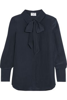 Navy silk crepe de chine Partially concealed button fastenings through front 100% silk Dry clean Imported