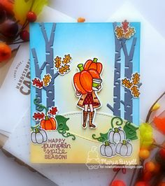 Newton's Nook August Release Day 1 – Pumpkin Latte – Maria Russell Designs Pumpkin Leaves, Autumn Leaves, Pumpkin Spice Coffee, Coffee Cards, White Gel Pen, Alcohol Markers, Fall Cards, Crystal Drop, Gel Pens