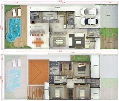 Plano de casa con piscina y terraza. Plano para terreno 10x25 #fachadasmodernassobrado