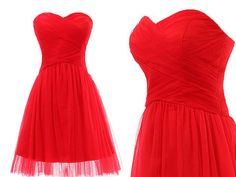 Sweetheart Strapless Ruched Tulle and Satin Short Zipper Back Red Dress