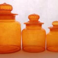 Orange Glass Canisters