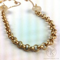 Bold Tiffany and dainty chain necklace with rutilated quartz