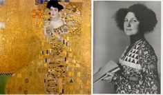 """Yes the dresses in the Klimt paintings were real, created by a woman called Emilie Flöge, a name forgotten in the shadows of time. And here she is modelling her creations, the real dresses behind the """"Women in Gold""""…"""