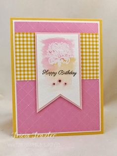{Gina K Inspiration Hop} Delicate Damask Birthday Sentiments, Birthday Cards, Happy Birthday, Distress Markers, Simply Stamps, My Stamp, Embossing Folder, Soft Colors, Watercolor Paper