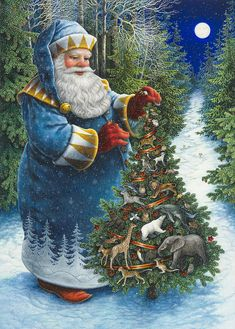 Santas Christmas Tree - Lynn Bywaters Santa in Blue, Christmas tree covered in animals from all over the planet, deep blue sky with moon