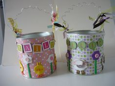 DIY Easter Basket Idea- these were made from formula cans, scrapbook paper & wire