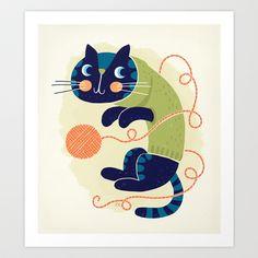 Woolly Cat Art Print by Linzie Hunter - $20.00