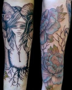 Faun girl tattoo by Steph Hanlon. Oooh could design a capricorn tattoo like this. Goat girl combo.