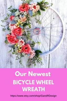 Our newest bicycle wheel wreath is now available in our Etsy shop. This is a smaller version than previously designed. It measures and would work perfectly for a storm door wreath. Find it in our Etsy shop Shabby Chic Interiors, Shabby Chic Decor, Vintage Decor, Door Wreath, Wreath Bows, Bicycle Decor, Silk Peonies, Bicycle Wheel, Baby Shower Gifts For Boys