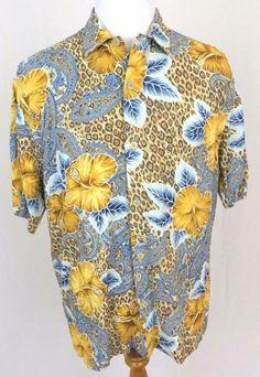 Jams World Hawaiian Shirt Medium Leopard Cheetah Floral Paisley Wild Hibiscus #JamsWorld #Hawaiian