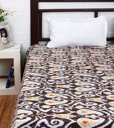 Gudri Indian Handmade Kantha Quilts Ikat Throw Blanket Bedspread #Handmade #Traditional