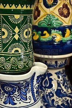 Picture of Romanian traditional ceramic in the form of jugs, painted with specific reasons Corund area, Transylvania stock photo, images and stock photography. Romania, Style Icons, Ceramics, Folk Costume, Stock Photos, Traditional, Mugs, Tableware, Creative