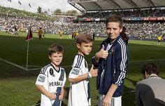 David Beckham's kids playing soccer with daddy beckham's kids