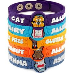AllerMates© : Allergy Alert Wristbands---  Asthma, Peanut, Egg , Tree Nut, Dairy, Shellfish, Penicillin, Wheat Gluten, Fish, Soy Allergy, Insect Sting, Latex, Pollen, Sesame, & Cat