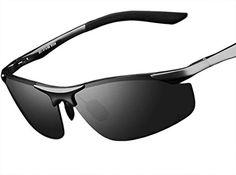 ATTCL® 2015 Al Mg Metallrahmen Fahren polarisierte Sonnenbrille Herren 18179 Schwarz