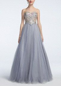 Feel like a true trendsetter in this show stopping beaded prom dress! Strapless sweetheart neckline features all over eye-catching heavily beaded bodice. Metallic ball gown skirt is both unique and over-the-top glamorous. Fully lined. Back zip. Imported polyester. Hand wash.