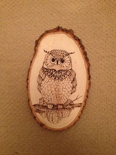 Beautiful Hand Crafted Owl Woodburning via Etsy