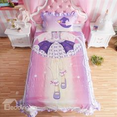 Fabulous Magic Girl Dress Pattern Kids Cotton 4-Piece Duvet Cover Sets