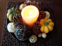 Ideen Herbstdekorationen zapfen kerze zierkürbisse deko bälle