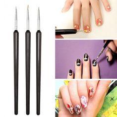 3 pcs Tiny Nail Art Painting Drawing Brush Pen Set
