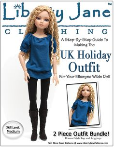 Ellowyne Wilde Doll CLothes Pattern - UK Holiday Outfit - Liberty Jane Patterns
