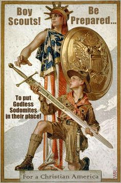 Boy scouts oppose godless sodomites!