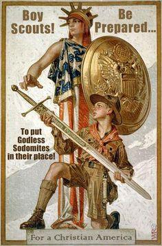 Boy scouts oppose godless sodomites!