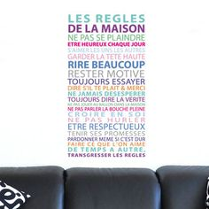 sticker r gles de la maison multicolore stickers texte et citations pinterest stickers. Black Bedroom Furniture Sets. Home Design Ideas