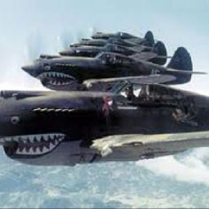 Fighter planes with shark teeth